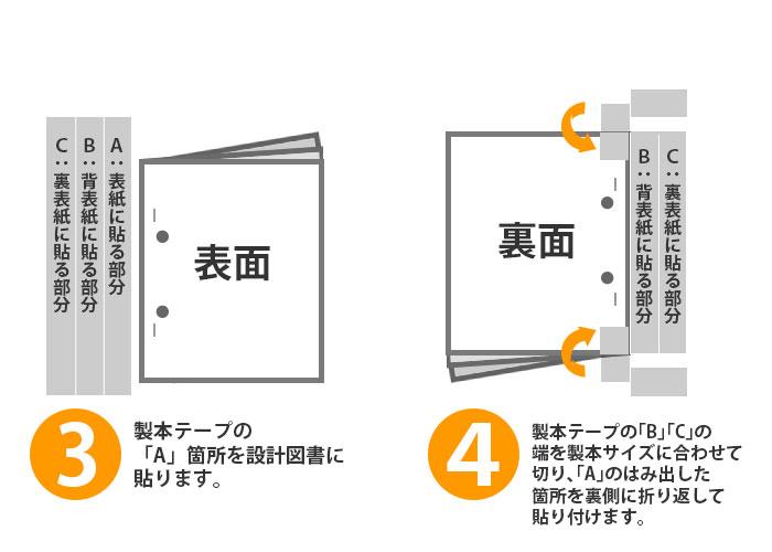袋とじ製本手順3~4 製本テープを貼り付け、余分な部分を切り取ります